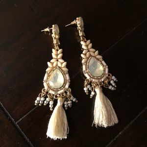 New cream and gold tassel earrings